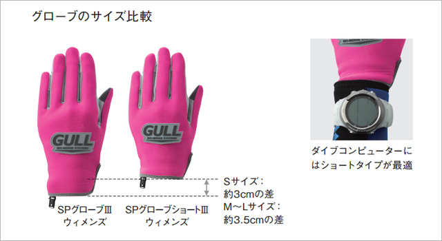 GULL SPグローブウィメンズ サイズ比較